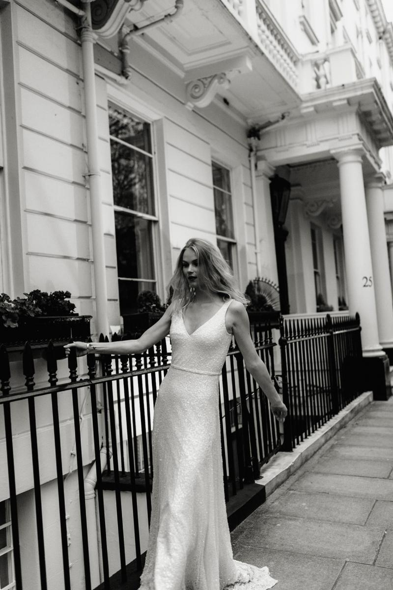 The Lotus gown by Karen Willis Holmes, sequin wedding dress with deep v-neck.