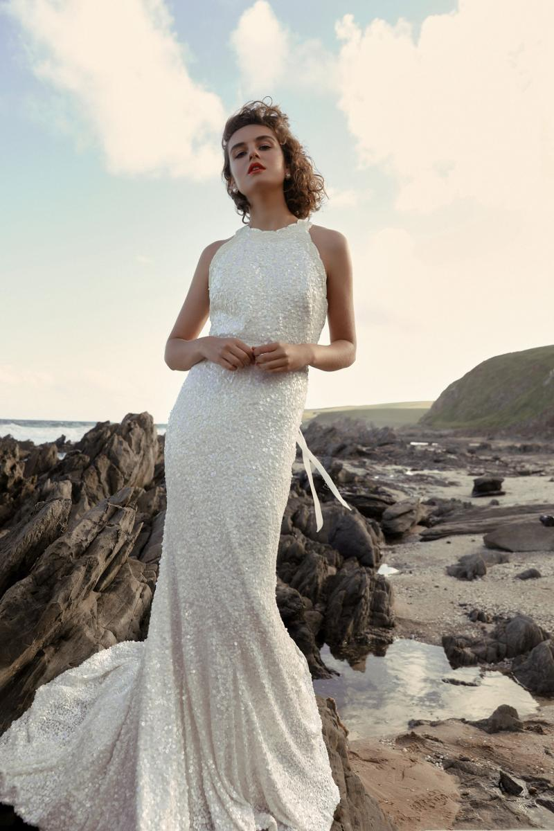 The Cindy gown by Karen Willis Holmes, halter neck nontraditional beaded wedding dress.