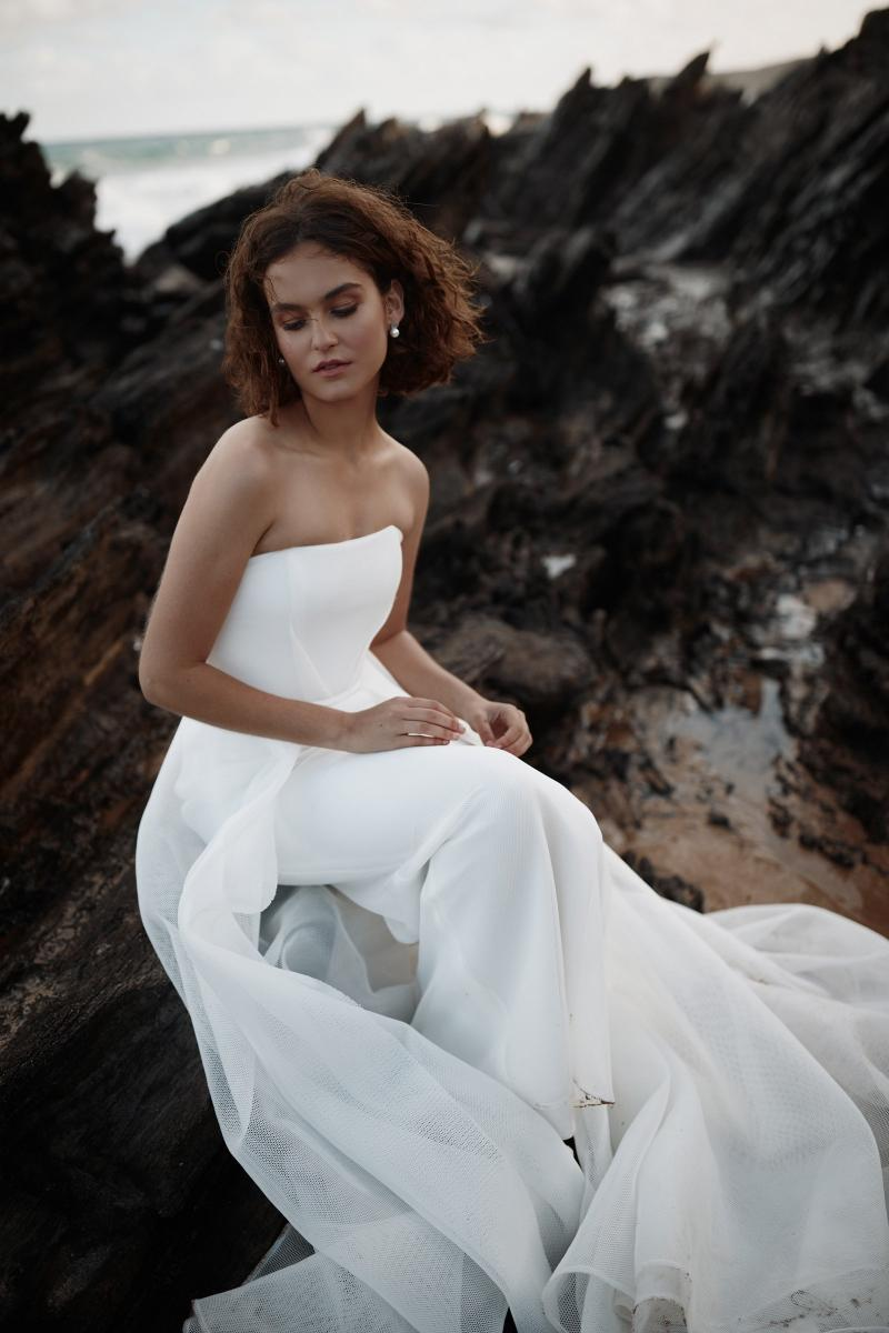 The Esther gown by Karen Willis Holmes, simple a-line wedding dress.