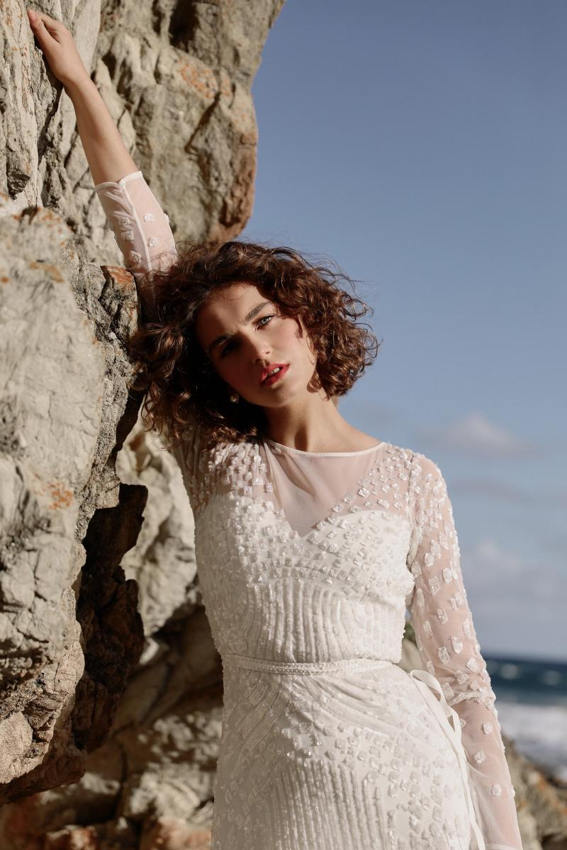 The Lexie gown by Karen Willis Holmes, illusion long sleeve beaded wedding dress.