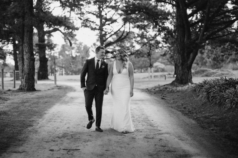 Real bride Ally wore the Curve Adina wedding dress by Karen Willis Holmes.