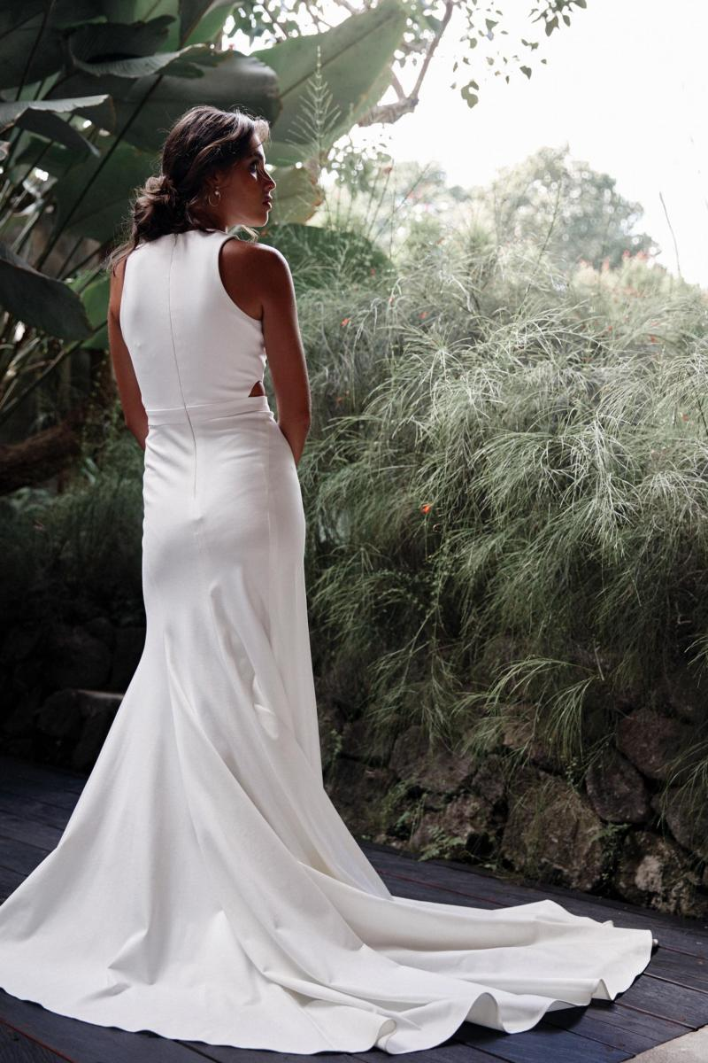 The Bridget gown by Karen Willis Holmes, high back simple wedding dress.