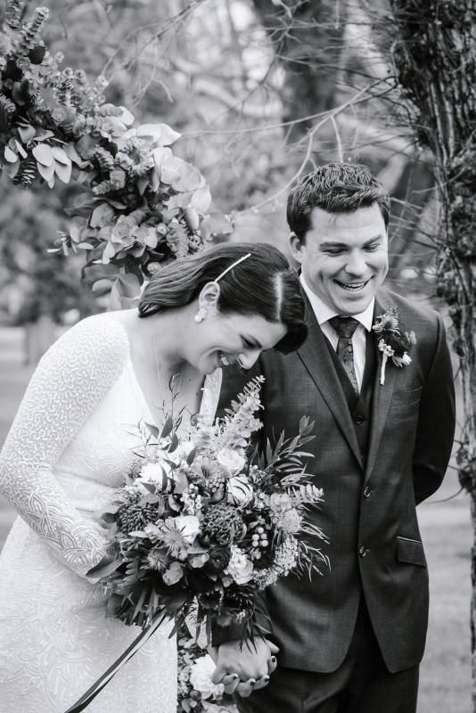 Real bride Jess wore the Luxe Celine wedding dress by Karen Willis Holmes.