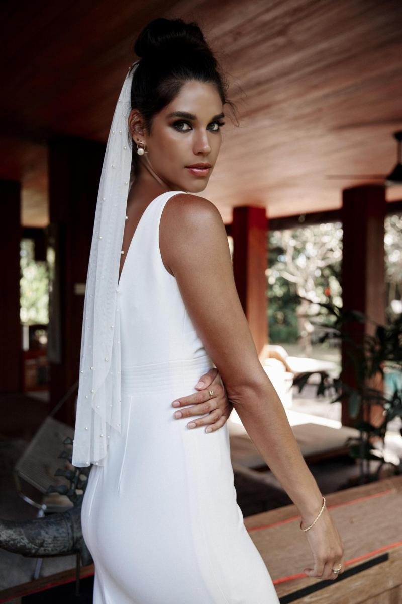 The Ebony gown by Karen Willis Holmes, simple modern wedding dress.