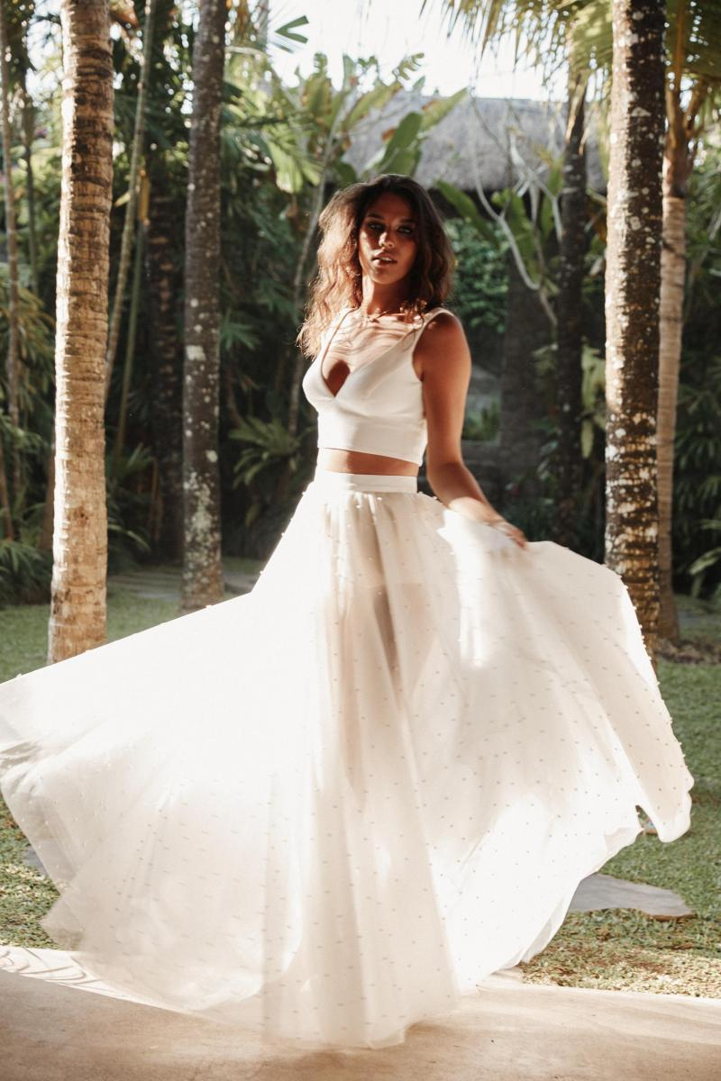The Erin & Lea two piece wedding dress by Karen Willis Holmes, pearl wedding skirt and bridal crop top.
