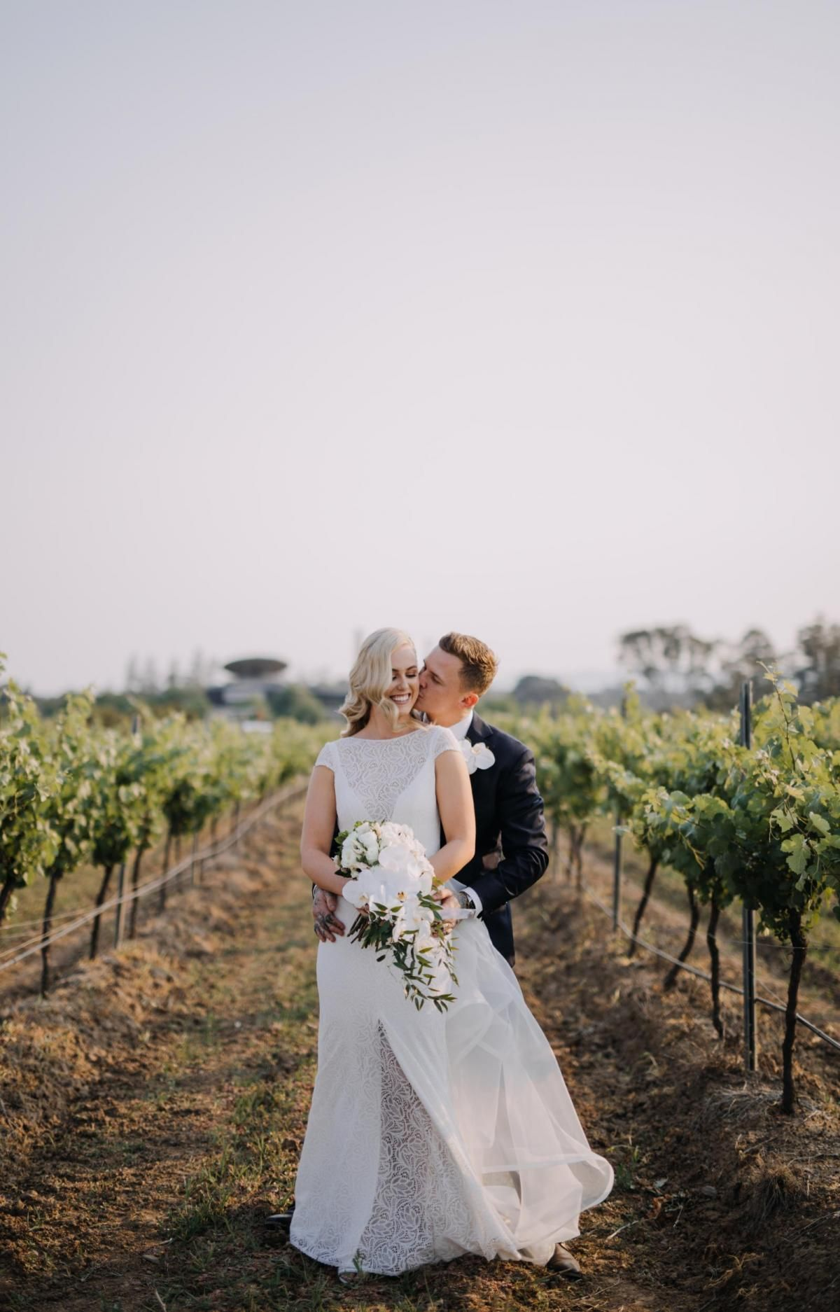 Real bride Madison wore the Wild Hearts Jemma wedding dress by Karen Willis Holmes.