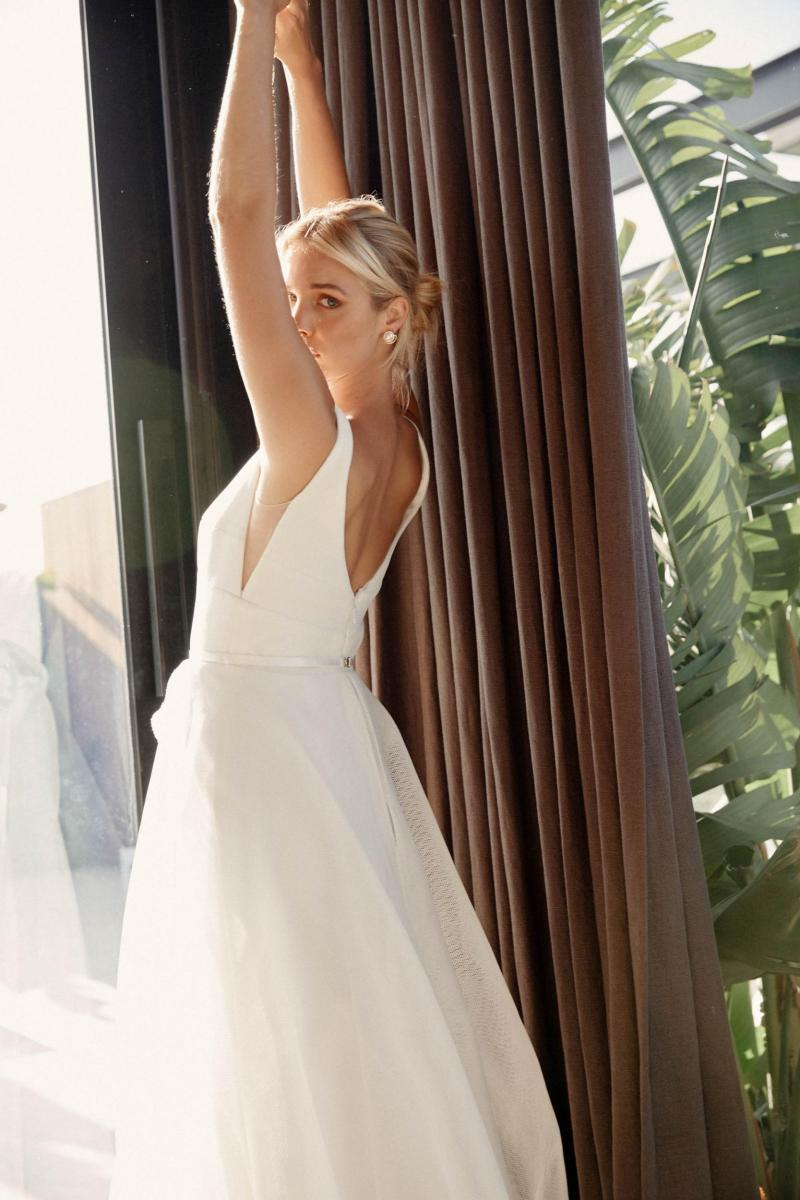 The Aisha gown by Karen Willis Holmes, open back a-line wedding dress.