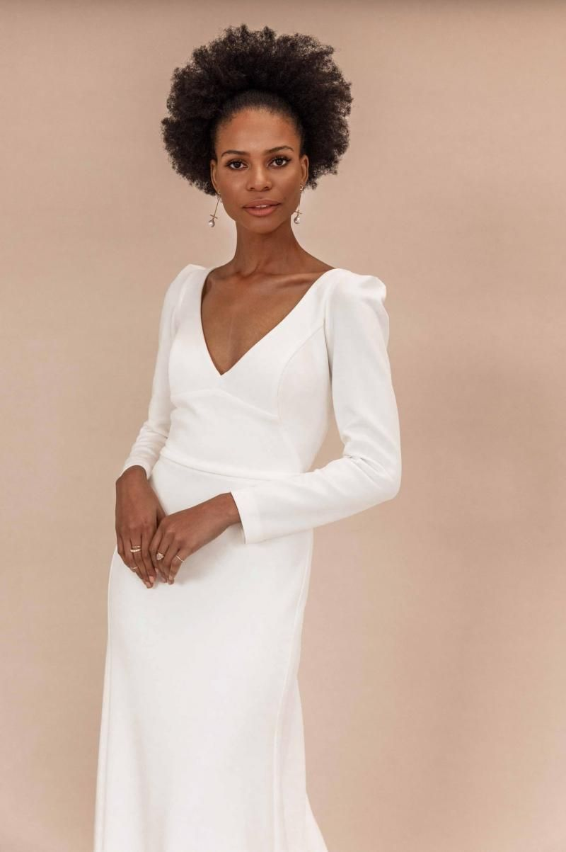 The Aubrey gown by Karen Willis Holmes, simple v-neck wedding dress with sleeves.