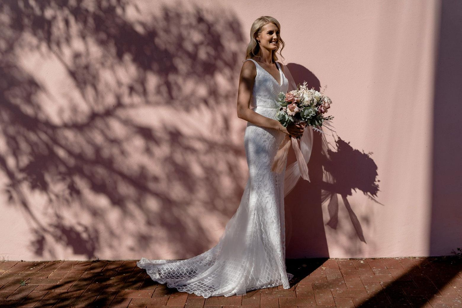 Real bride Bree wore the Wild Hearts Bobby wedding dress by Karen Willis Holmes.