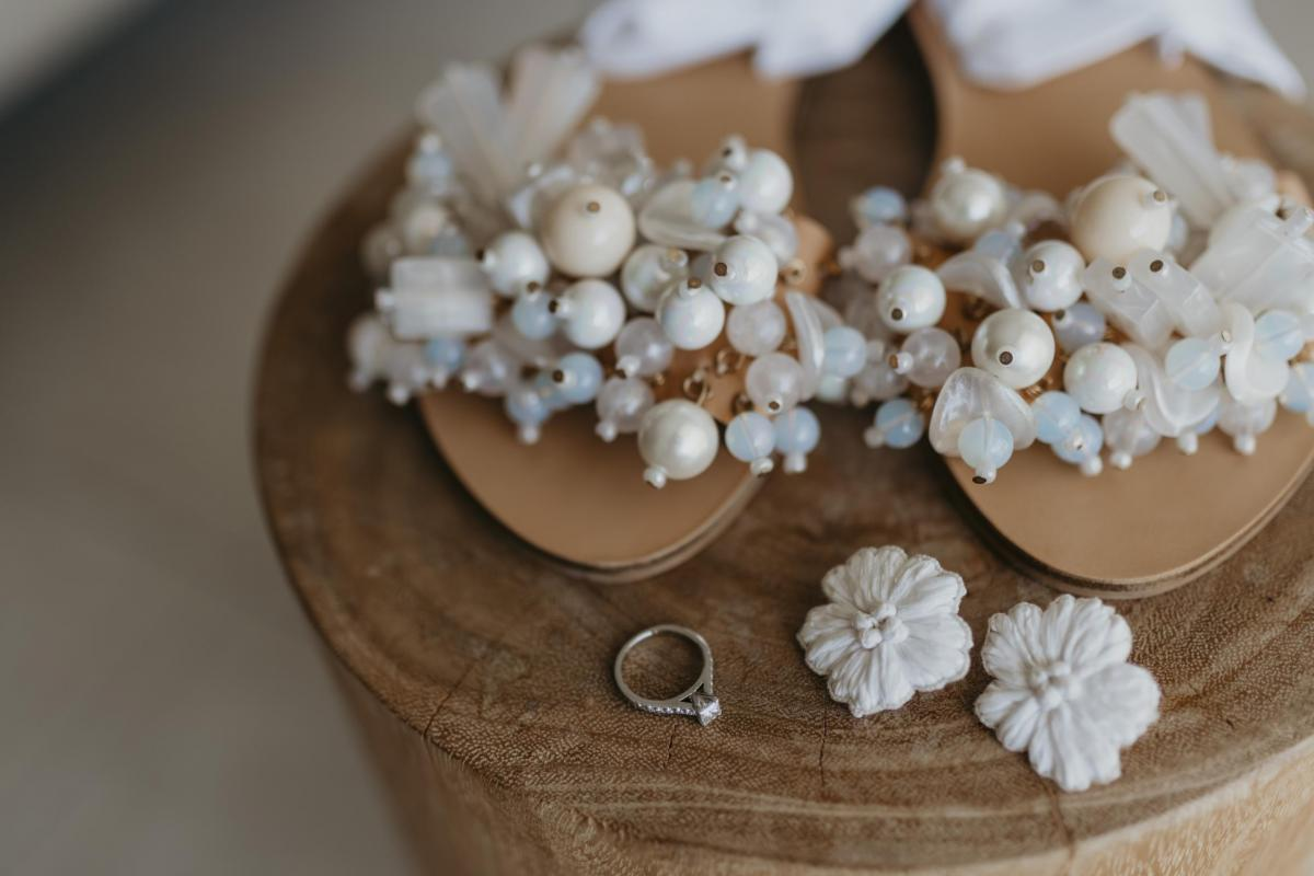 Embellished wedding flats worn by Kelsi