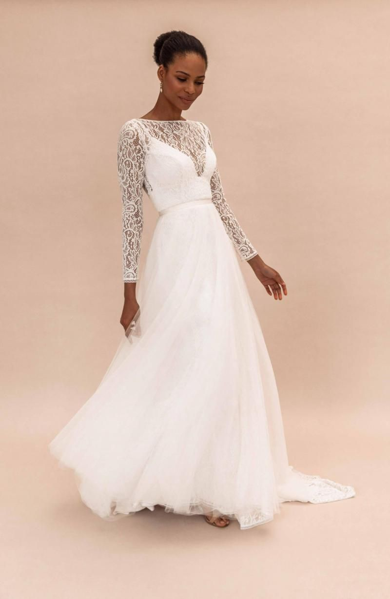 The Maggie Overlay by Karen Willis Holmes, tulle detachable wedding dress train.