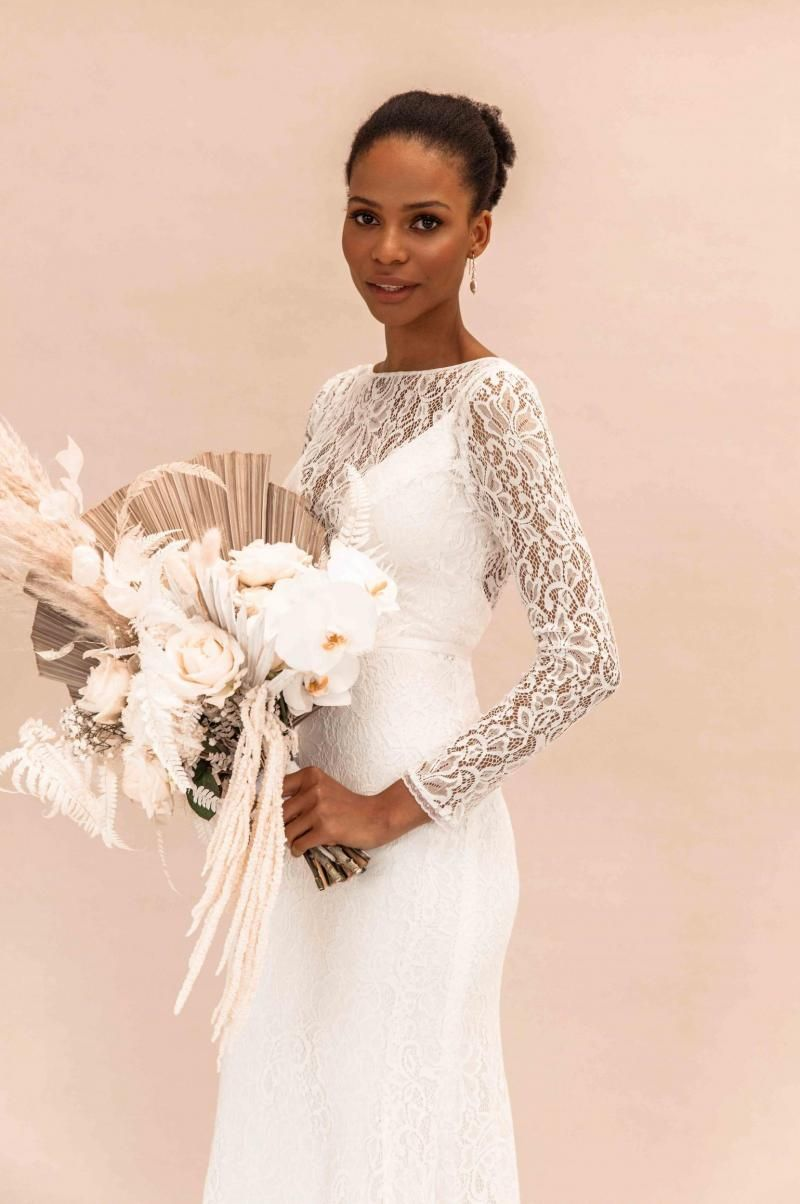 The Karina gown by Karen Willis Holmes, long sleeve lace wedding dress.