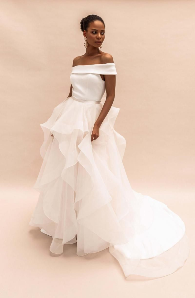 The Selena Train by Karen Willis Holmes, organza detachable wedding dress train.