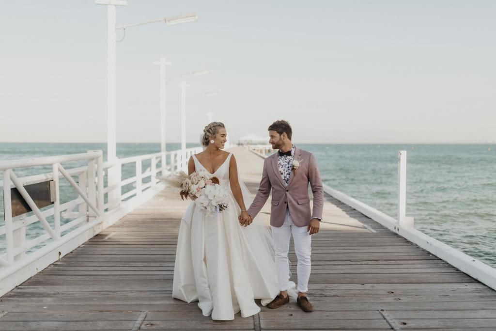 Kelsi wears the Leonie Melanie wedding dress for a Queensland wedding
