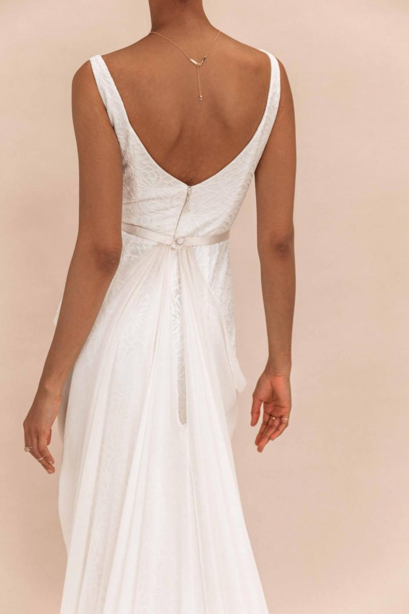 The Genevieve Overlay by Karen Willis Holmes, sheer detachable wedding dress train.