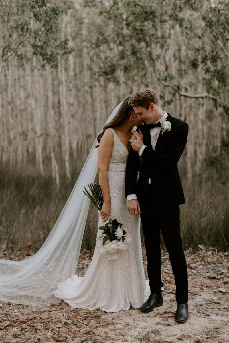 KWH bride Jemma and Sam; Jemma wears the GEORGINA gown by Karen Willis Holmes; a floral beaded Luxe wedding dress with a V-neck and bias cut skirt
