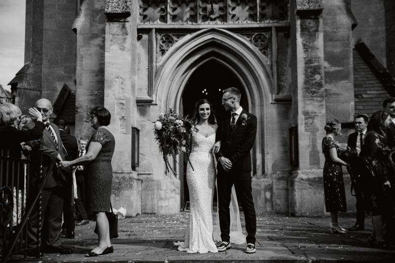 Real bride Pixie wore the Luxe Anya wedding dress by Karen Willis Holmes.