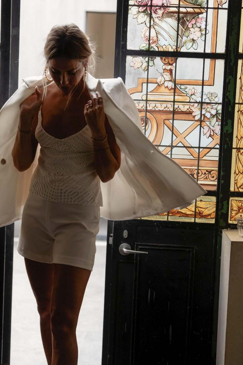 Anne & Dani by Karen Willis Holmes, a lace wedding tank top & bridal shorts for bridal suit