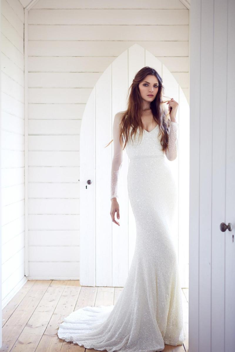 The Carina gown by Karen Willis Holmes, sequined v-neck wedding dress with fit and flare shape