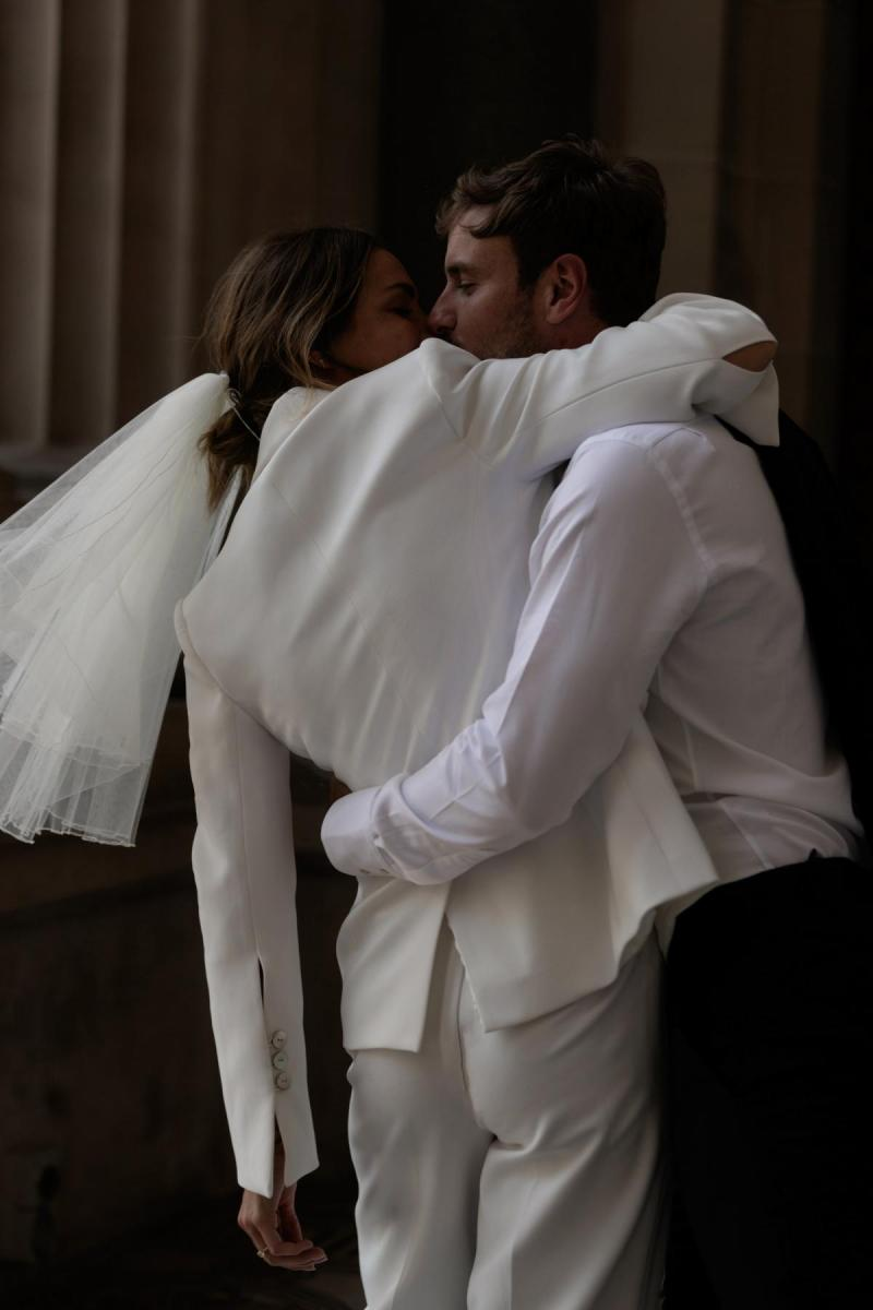 Charlie & Danielle by Karen Willis Holmes, bridal jacket & bridal pants for bridal suit