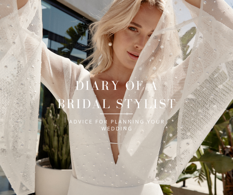 Diary of a bridal stylist-bride wearing elegant wedding dress with flared sleeves
