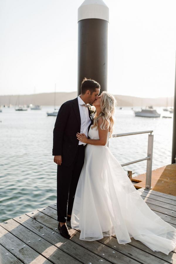 KWH bride Celeste & Daniel just married on Sydney harbour; wearing the Bespoke ESTHER wedding dress by Karen Willis Holmes