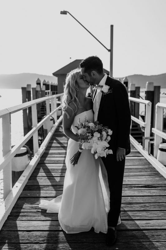 KWH bride Celeste & Daniel just married on Sydney harbour; wearing the Bespoke ESTHER gown, a modern ball-gown style wedding dress.