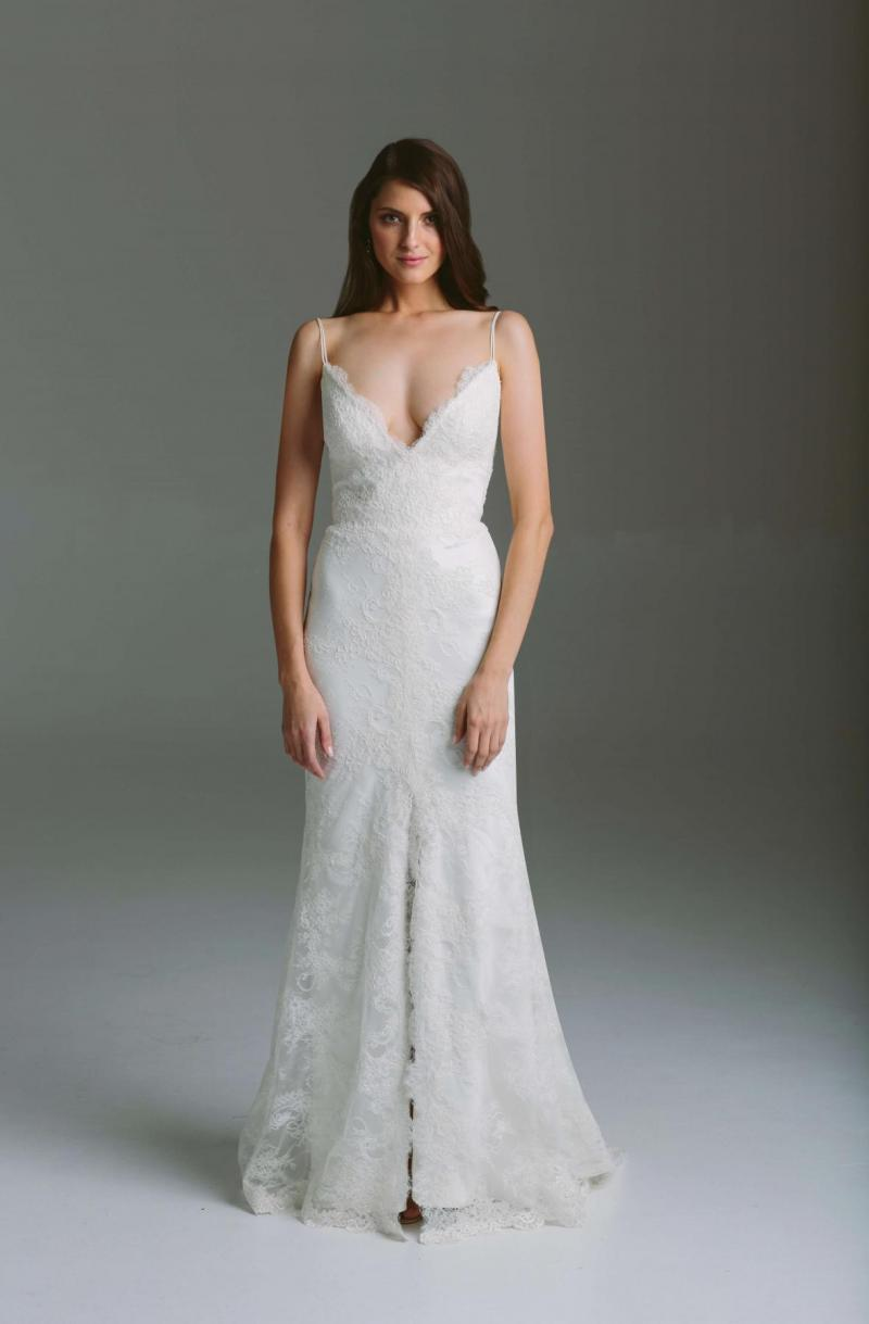 The Gianna by Karen Willis Holmes, fit and flare lace wedding dress with spaghetti strap