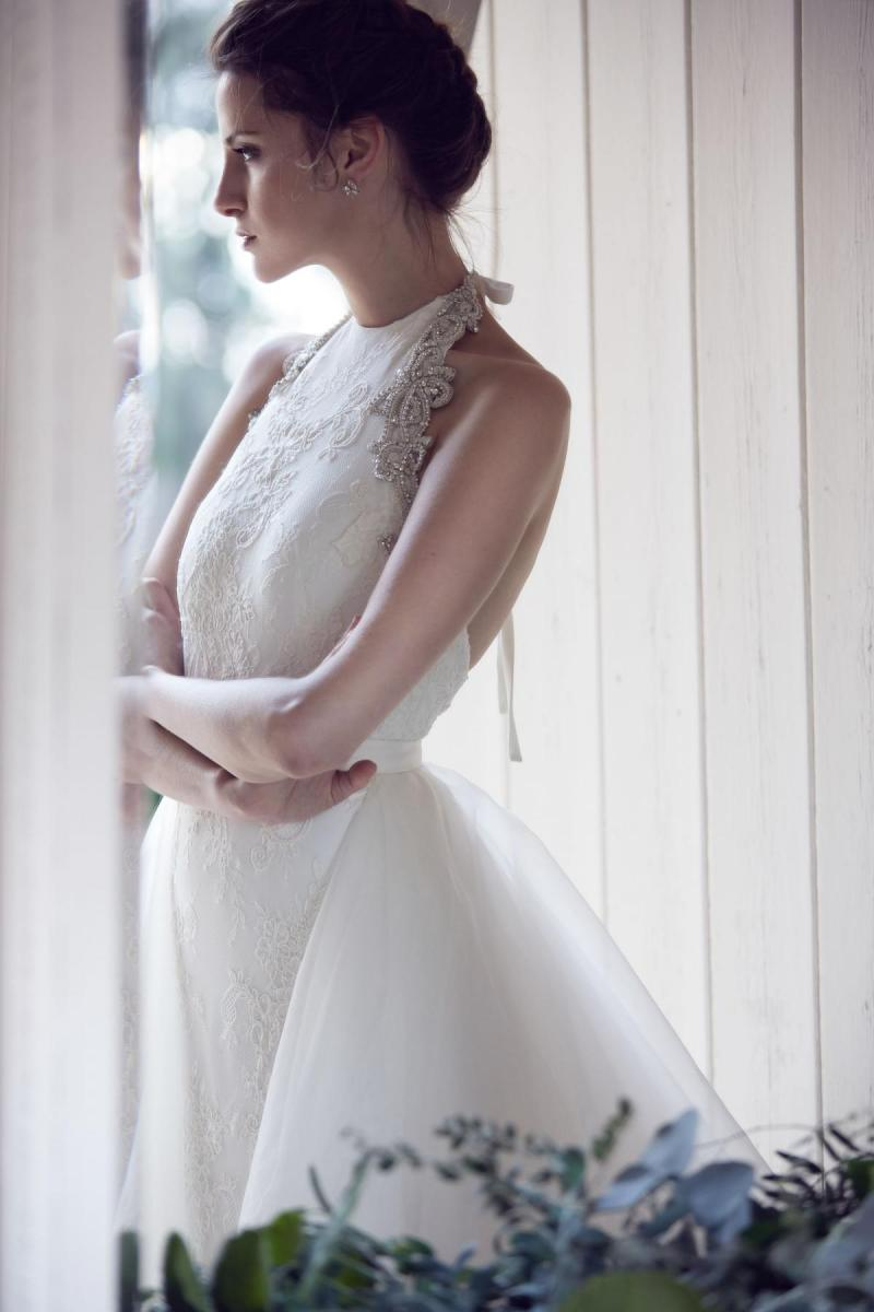 The Johanna gown by Karen Willis Holmes, halter neck fit and flare lace wedding dress