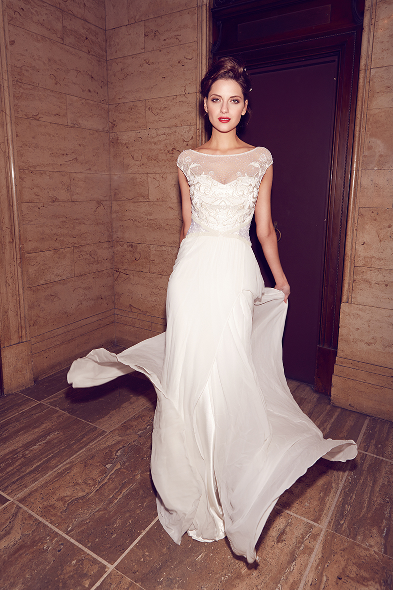 The Jamie by Karen Willis Holmes, illusion neck beaded wedding dress with cap sleeves