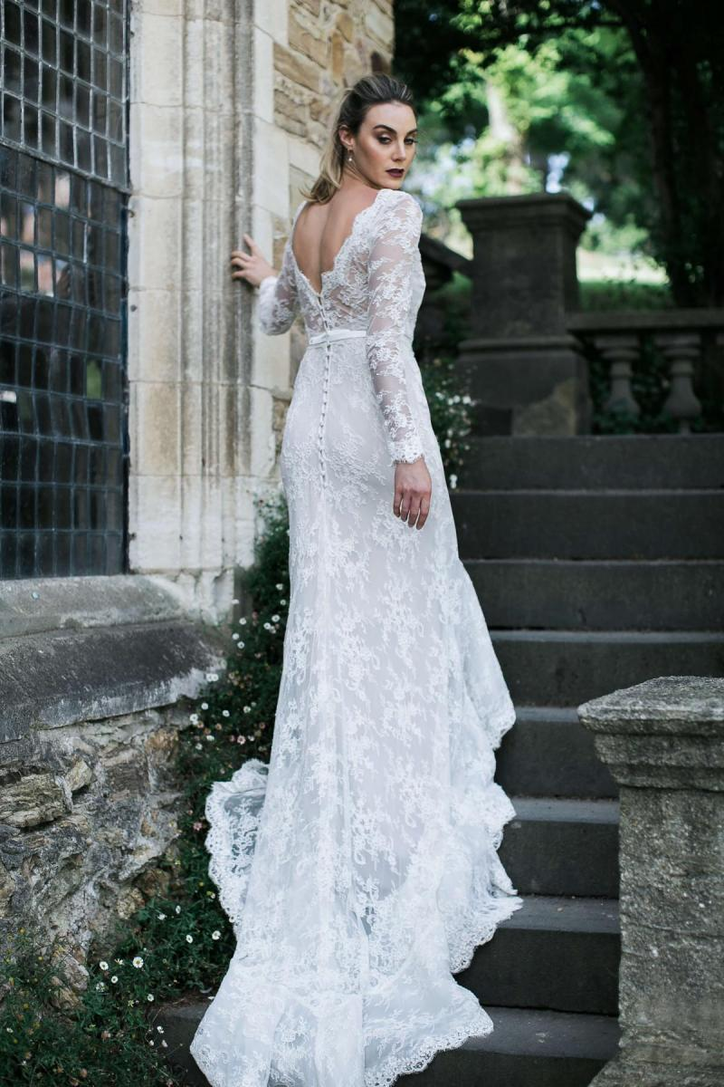 The Milani gown by Karen Willis Holmes, lace v-neck wedding dress with fit and flare shape