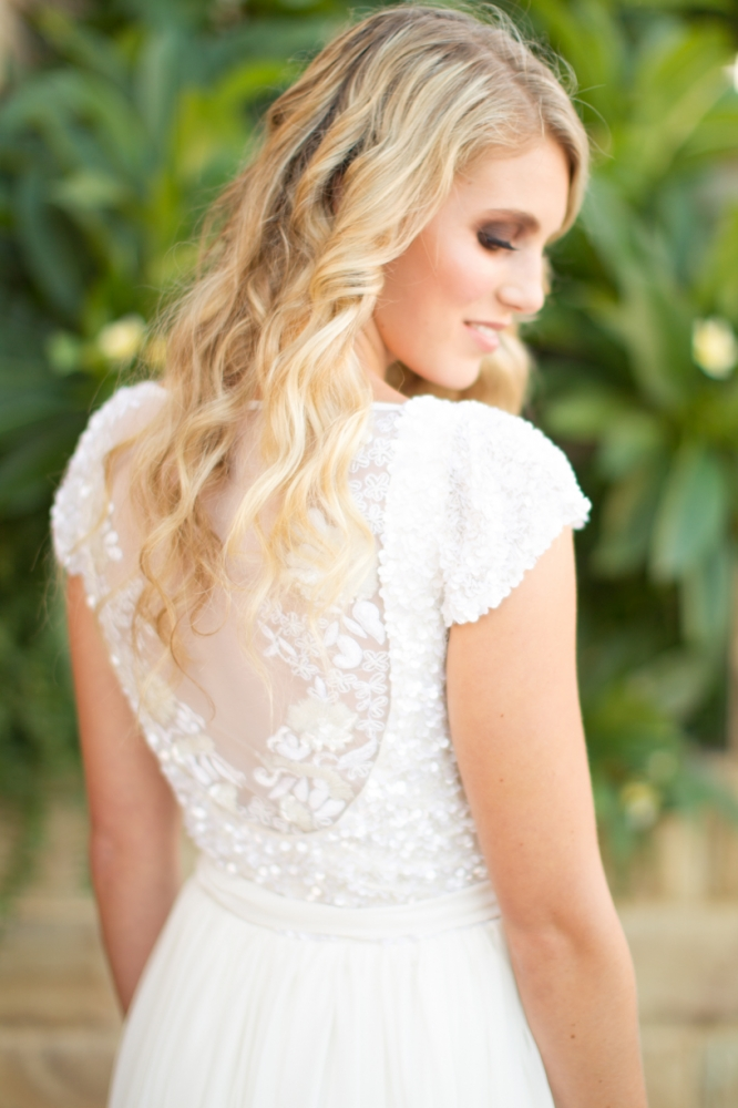 The Kayla by Karen Willis Holmes, illusion back beaded wedding dress with cap sleeves