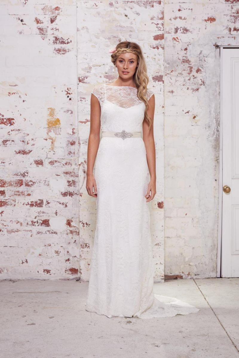 The Louella by Karen Willis Holmes, illusion neckline lace wedding dress with cap sleeves