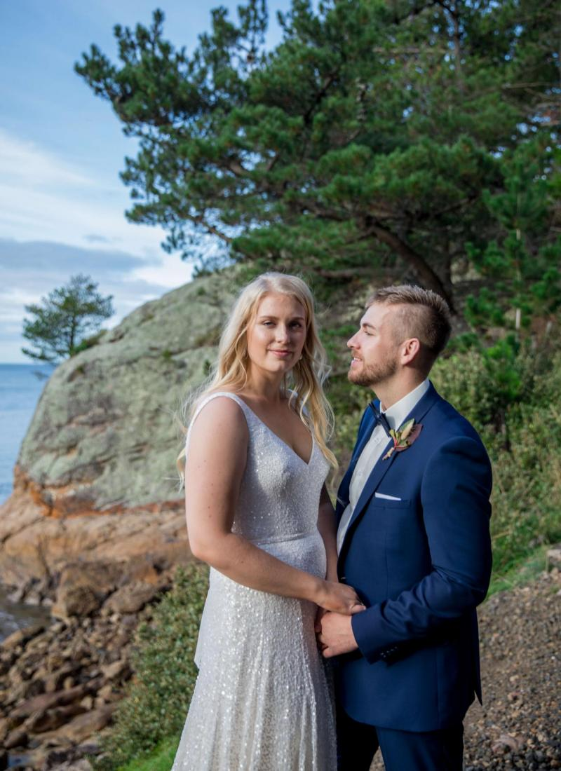 KWH bride Alana wears the LOTUS gown to her COVID-19 wedding