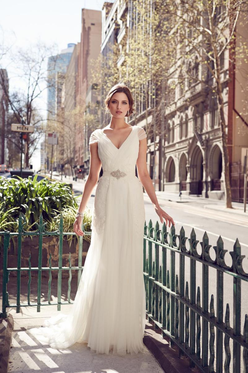 The Lyla by Karen Willis Holmes, v-neck fit and flare wedding dress with cap sleeves