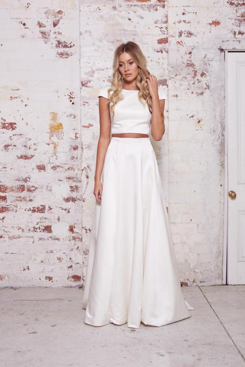 The Mabel gown by Karen Willis Holmes, a simple two piece wedding dress with A-line Skirt