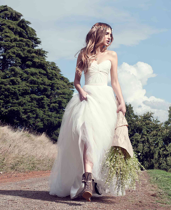 The Madelyn by Karen Willis Holmes, simple strapless wedding dress with A-line shape