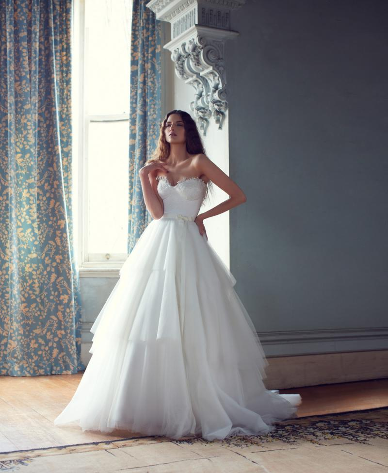 The Matilda by Karen Willis Holmes, bustier a-line wedding dress with tulle skirt
