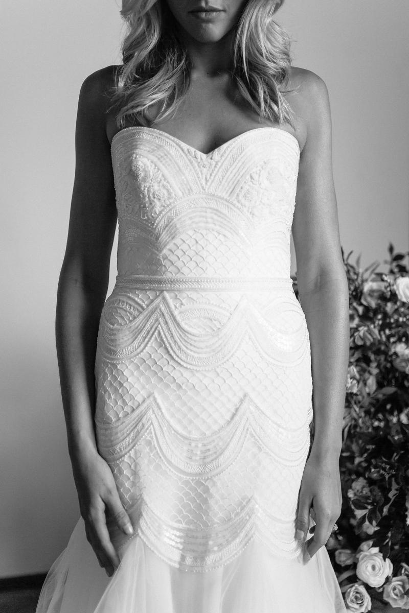 The Ophelia gown by Karen Willis Holmes, strapless beaded wedding dress with button back and tulle skirt