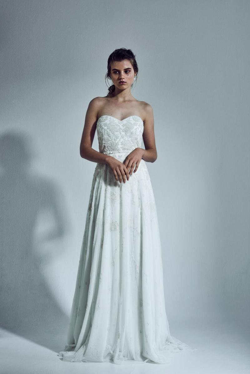 The Rosalia gown by Karen Willis Holmes, strapless beaded wedding dress