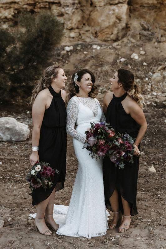 Karen Willis Holmes bride MEagan with her bridesmaids in Stansbury on the Yorke Peninsula, wearing the Karina gown; a flattering fitted lace wedding dress.