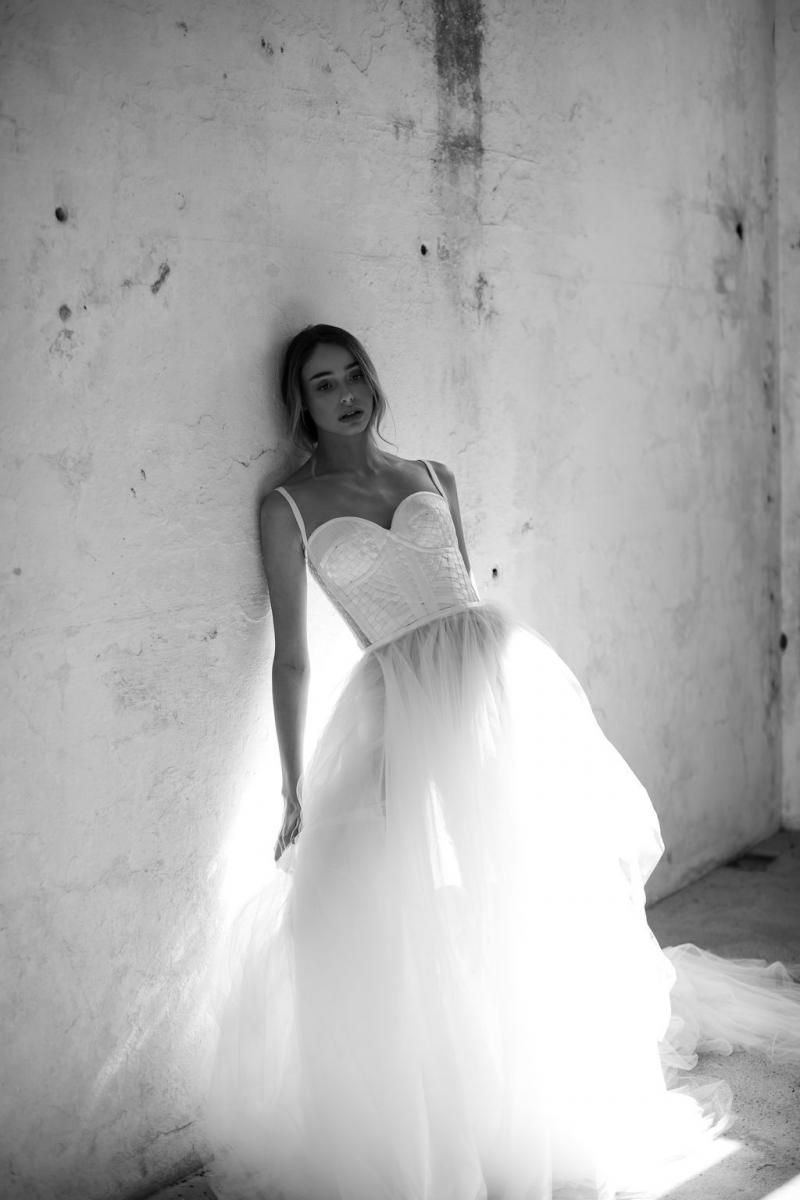 Scarlett by Karen Willis Holmes; wedding dress with corsetry bodice and tulle skirt