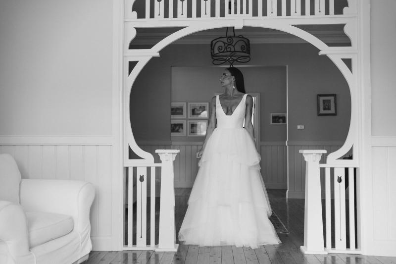 Real bride Sarah wears the Taryn Marina combo, a Bespoke wedding dress for the modern bride by Karen Willis Holmes.