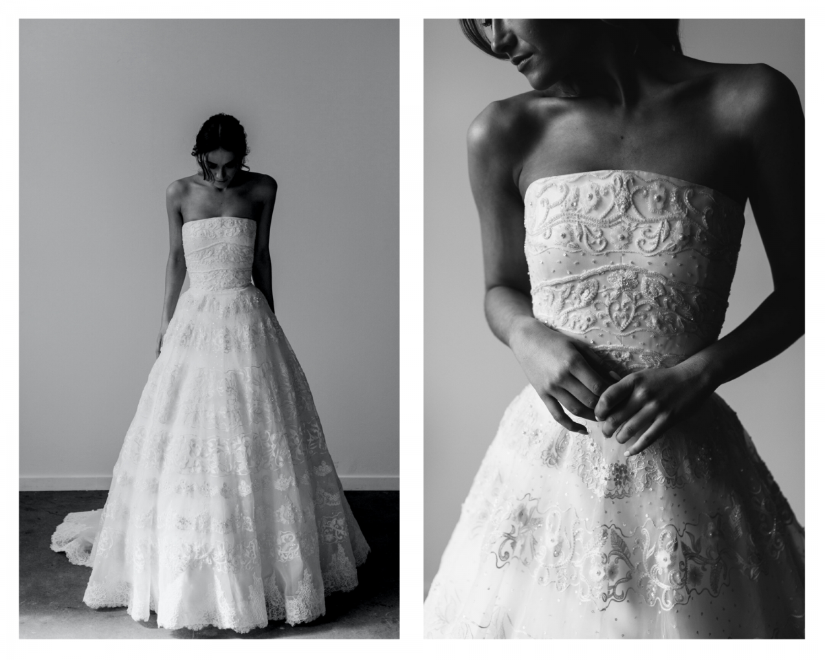 model wears Francesca ball gown wedding dress style silhouette in French lace by Karen Willis Holmes