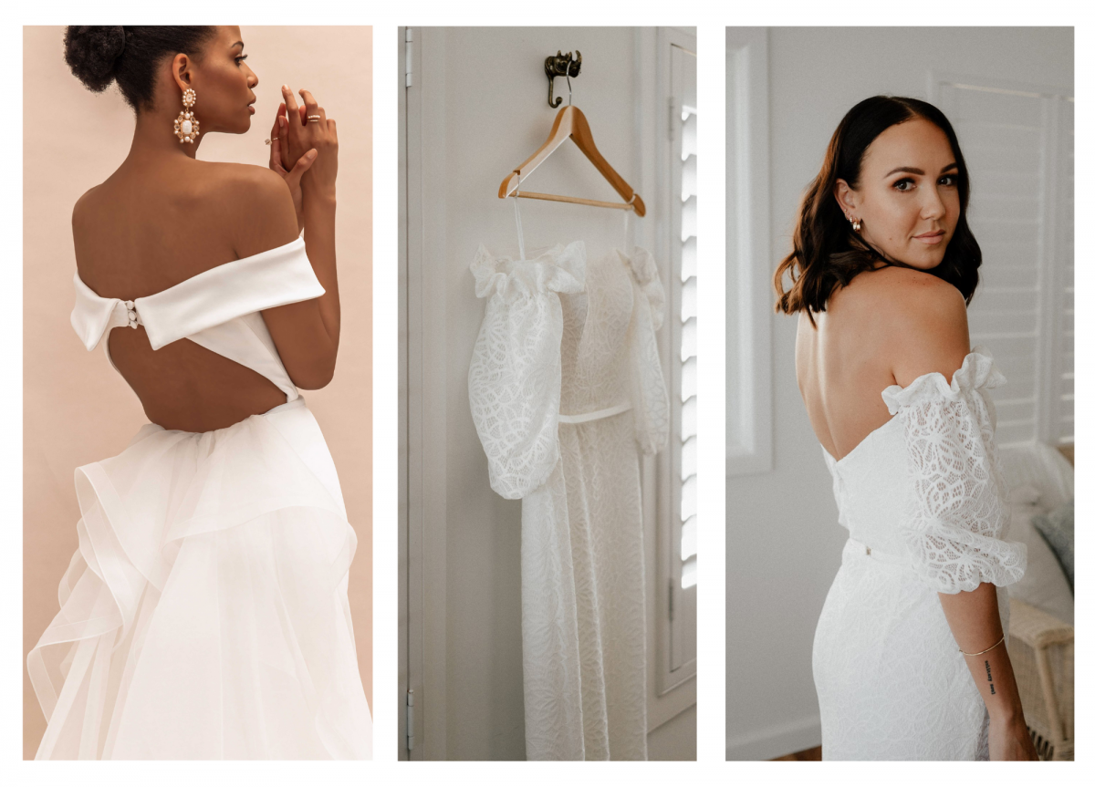 Model and real bride wears Lauren and Vivienne Off-shoulder wedding dress style silhouette in lace and stretch crepe by Karen Willis Holmes