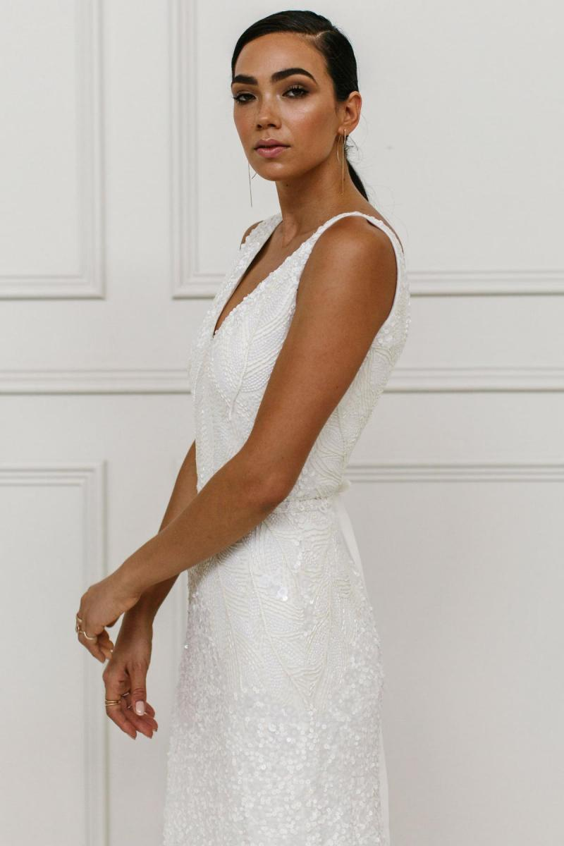 Olympia Luxe wedding dress by Karen Willis Holmes; a V neck bias cut dress
