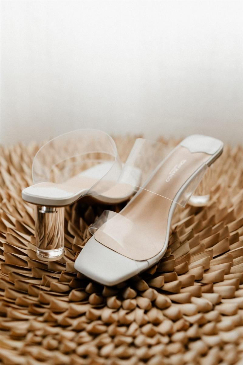 Real bride Lidia wears clear transparent heels by Tony Bianco for wedding.