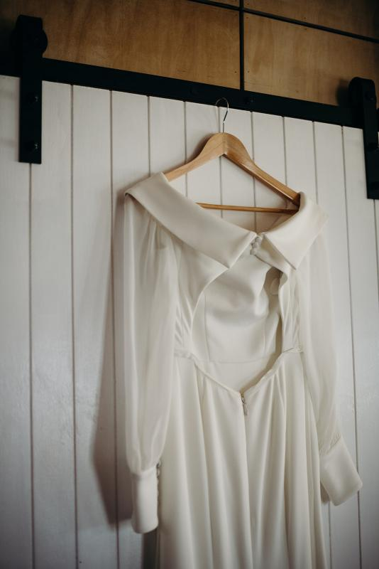 Details of the Lauren gown & Nikki sleeves; an off the shoulder wedding dress with long sleeves by Karen Willis Holmes