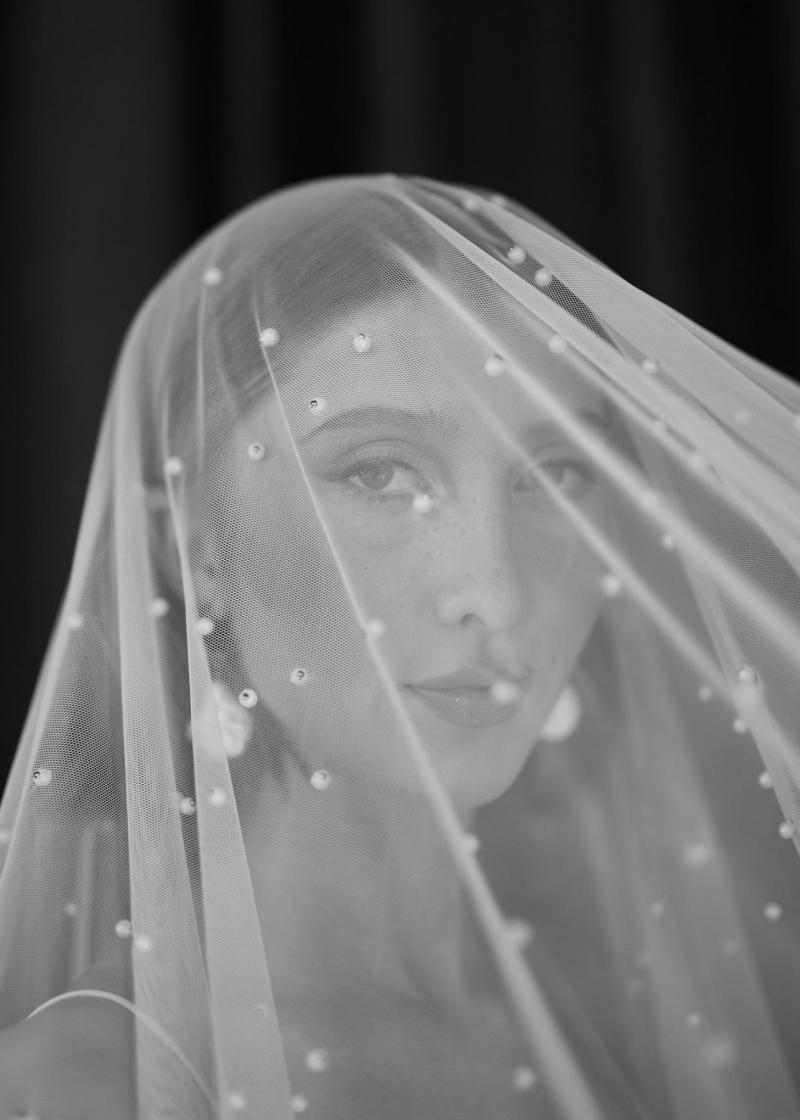 Pearl veil by Karen Willis Holmes with Sage gown