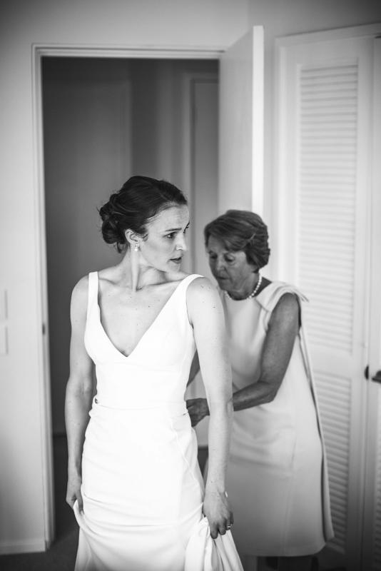 Real bride Joan getting ready for her Sydney wedding, wearing the Imogen gown from Karen Willis Holmes' Wild Hearts Collection